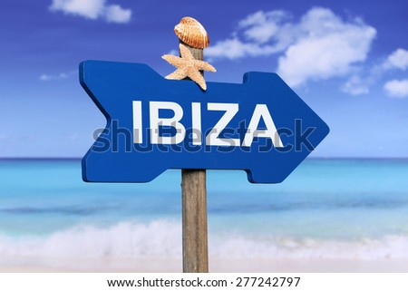 Ibiza with beach and sea in summer on vacation