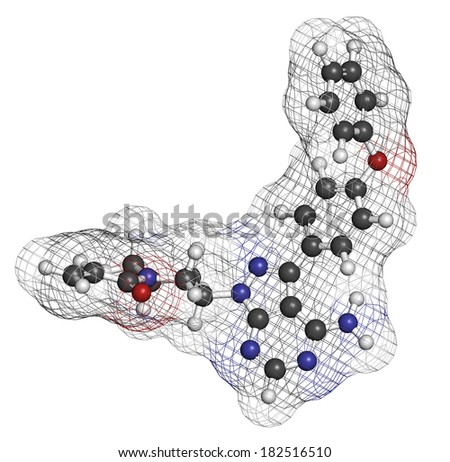 Ibrutinib cancer drug molecule. Used in treatment of mantle cell lymphoma and chronic lymphocytic leukemia (CLL). Atoms are represented as spheres with conventional color coding: hydrogen (white), etc - stock photo