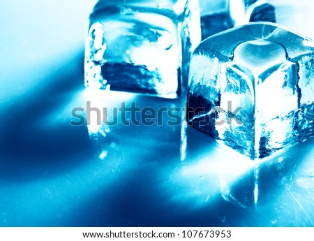 Ice. Abstract still life over blue backgrounds