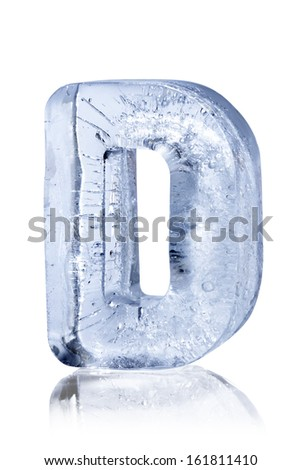 Ice alphabet letter D - stock photo
