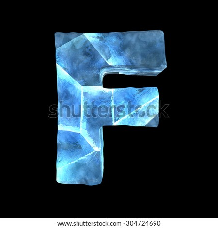 Ice alphabet (letter F) - stock photo