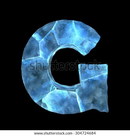 Ice alphabet (letter G) - stock photo