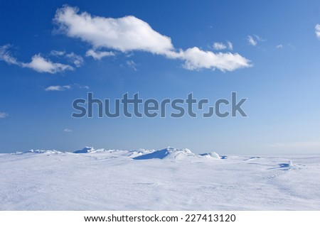 Ice and snow on a sunny sea, ocean. Continuous, unbroken winter white sea in bright sunshine. White clouds in the blue sky.