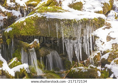 Ice and Water in a Spring Snow in the Smoky Mountains - stock photo