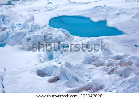 Ice at North Pole (85-86 degrees) in 2016. Summer snow morass (melt water pool) and toros (haycock, from land-origin ice because dirty) - Blue puddle on multi-year ice in Arctic ocean.