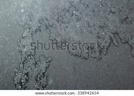 Ice background, frost on window - stock photo