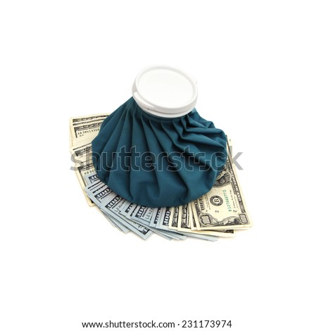 Ice Bag Resting Upon Cold Cash Over White Background. - stock photo