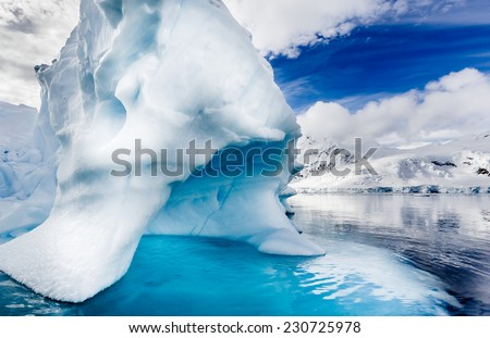 Ice bergs create natural beauty in Antarctica - stock photo