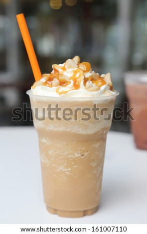 ice blend caramel coffee - stock photo