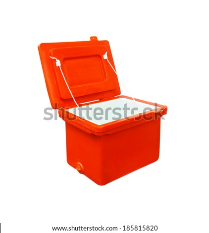 ice box, ice bucket orange plastic  Isolated with clipping path, ice bucket for soak food and drink. - stock photo
