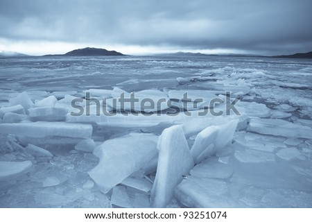 Ice Braking up on Utah Lake - stock photo