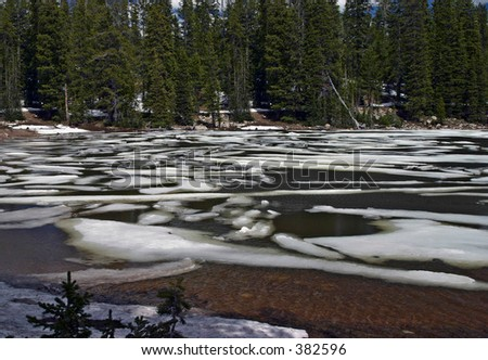 Ice breaking up on Pass Lake in the Uinta Mountains, Wasatch National Forest, Utah - stock photo