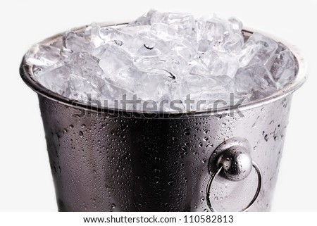Ice bucket filled with ice cubes