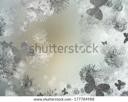 Ice butterflies for text, background