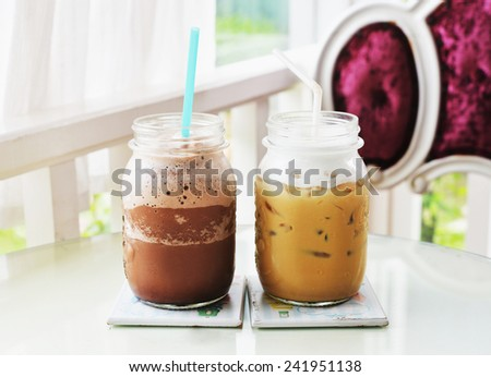 ice cappuccino coffee and chocolate smoothie  - stock photo