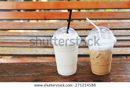 ice cappuccino coffee and white malt frappe - stock photo