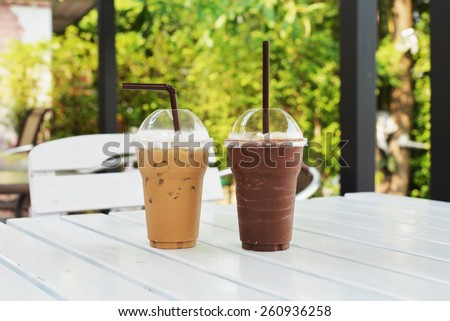 ice cappuccino drink and chocolate smoothie - stock photo