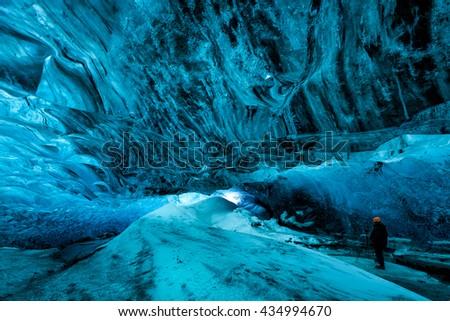 ice cave, iceland - stock photo