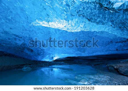 Ice cave in Iceland - stock photo