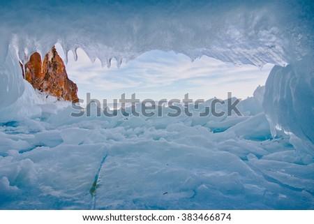 Ice Cave. Olkhon island. lake Baikal - stock photo
