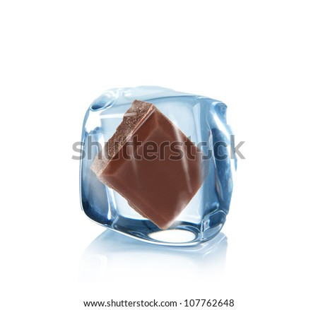 Ice chocolate over white background - stock photo