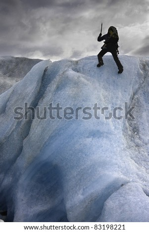 Ice climbing on Solheimajokull glacier in Iceland - stock photo