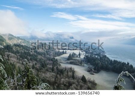 Ice coated landscape in the Columbia River Gorge, Washington State - stock photo