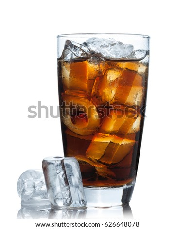 Ice coca cola drink glass with ice cubes Isolated on white background