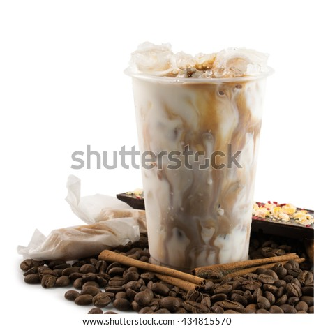 Ice coffee in takeaway cup coffee beans and chocolate isolated on white background - stock photo