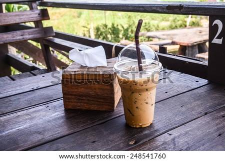 ice coffee on table - stock photo