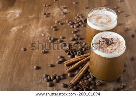 Ice coffee with copyspace composition - stock photo