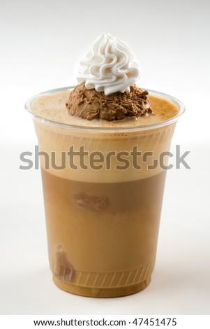 Ice coffee with ice cream - stock photo
