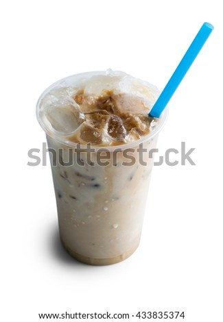 Ice coffee with milk isolated on white background