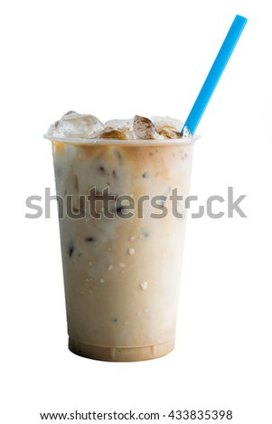 Ice coffee with milk isolated on white background - stock photo