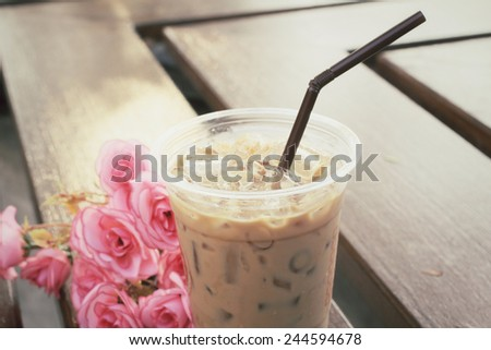 Ice coffee with roses