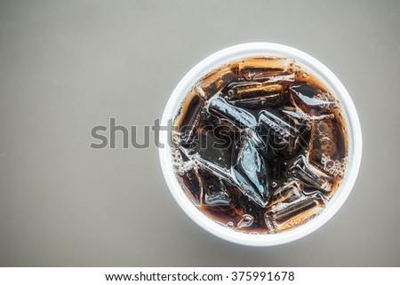 Ice cola glass - Top of view - stock photo