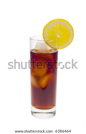 ice cold cola drink with fresh lemon isolated on a white background