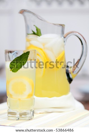 Ice Cold Lemonade With Mint