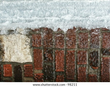 Ice covered bricks