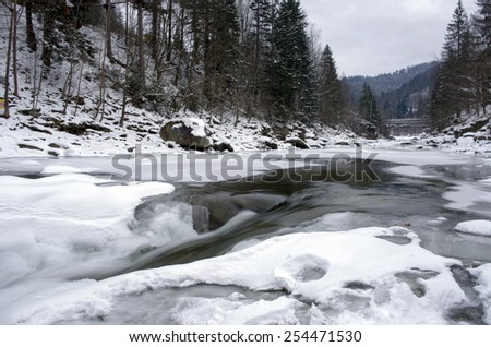 Ice covers rocks in a slow motion river in the winter