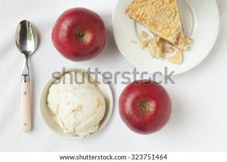 Ice Cream and Apple Pie - stock photo