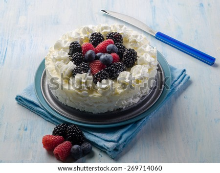 ice cream cake with mix berries - stock photo