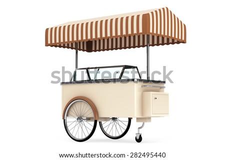 Ice cream cart on a white background - stock photo