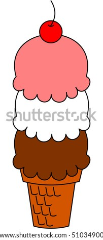 Ice cream cone with a cherry - stock photo