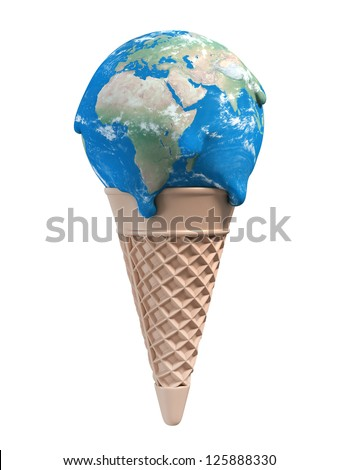ice cream earth melts - global warming 3d concept - stock photo
