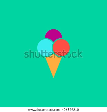 Ice cream Flat icon on color background. Simple colorful pictogram - stock photo