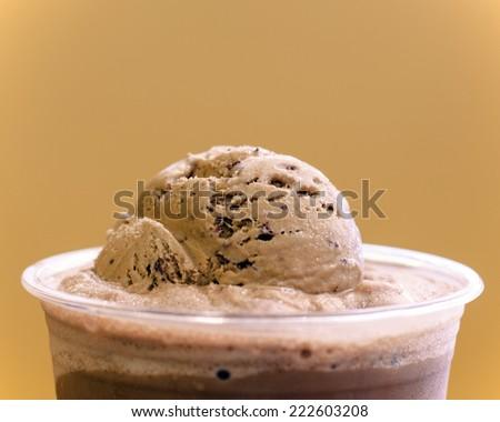 ice cream float in chocolate  - stock photo