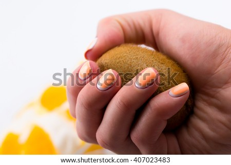 Ice cream from cherry from a kiwi from orange on a white background