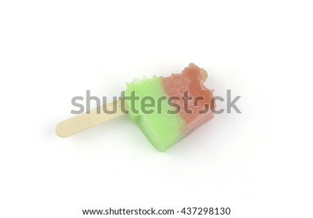 Ice cream, fruit, watermelon. Red and green On a white background - stock photo