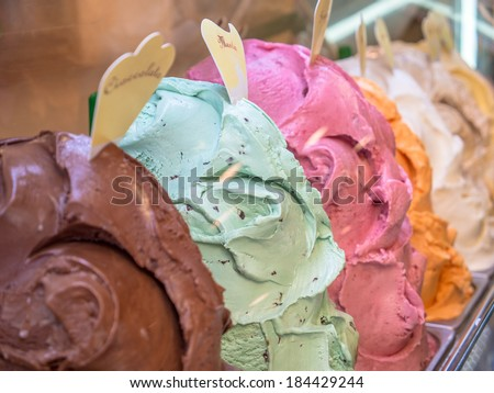 Ice cream gelato in a shop in italy. - stock photo